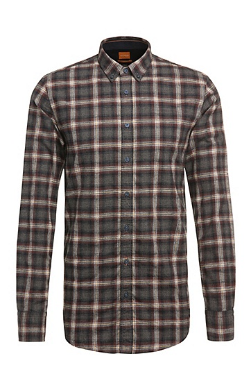 Checked-pattern, slim-fit shirt in cotton: 'EdipoE', Brown