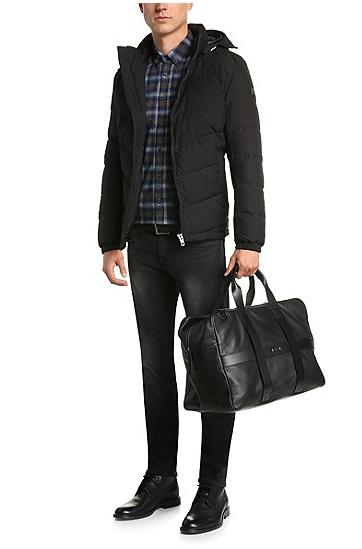 Checked-pattern, slim-fit shirt in cotton: 'EdipoE', Dark Blue