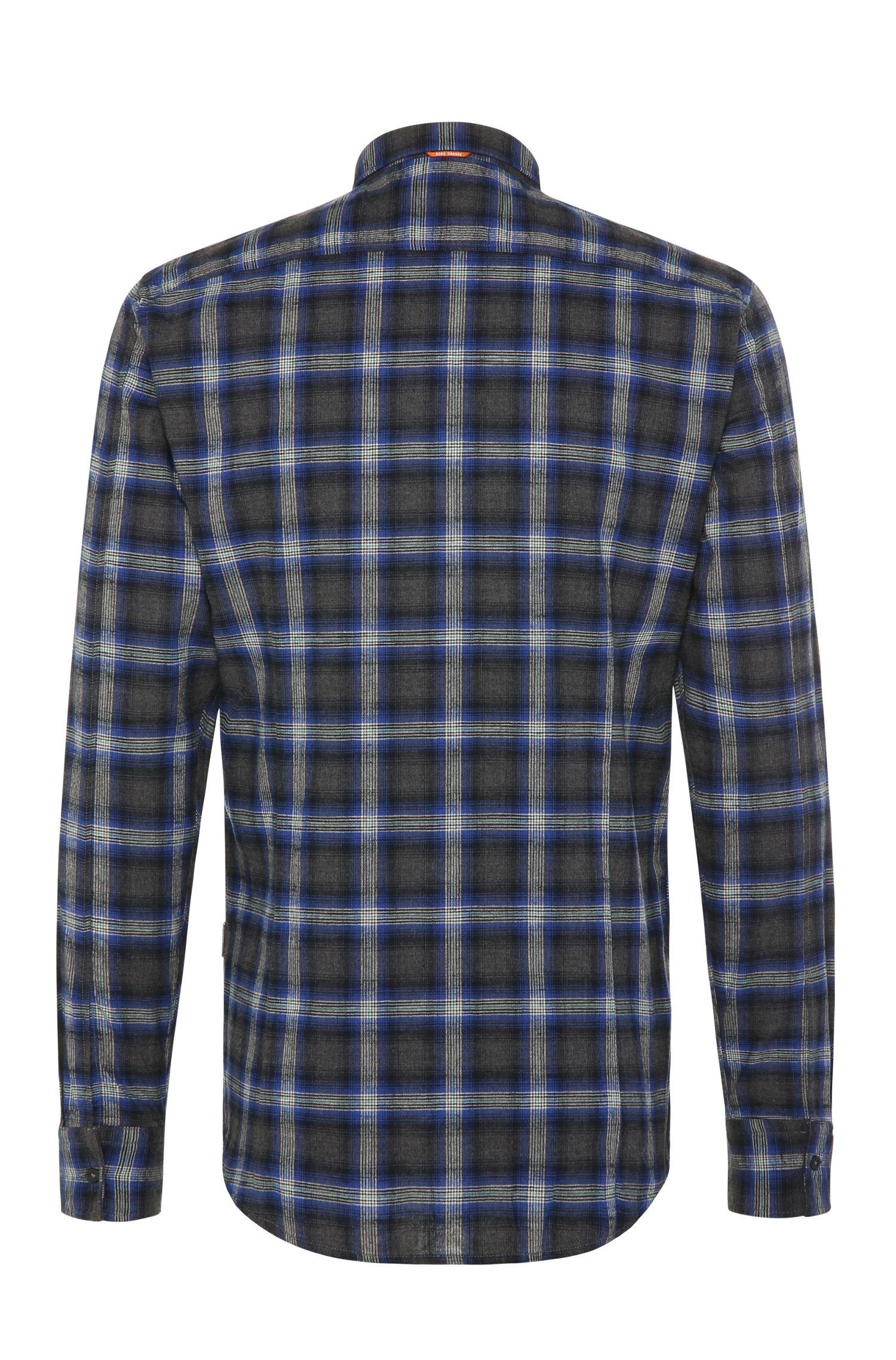 Chemise Slim Fit en coton ornée d'un motif à carreaux: «EdipoE»