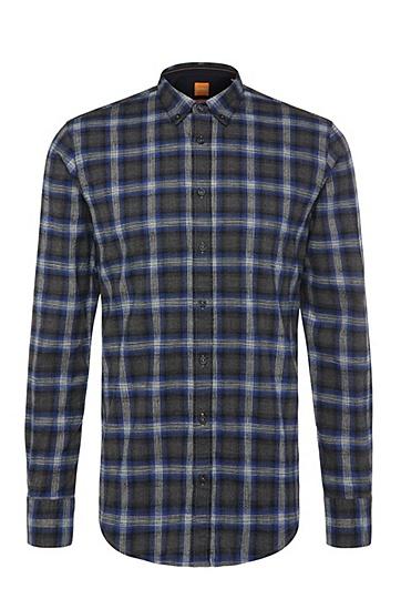 Slim-fit overhemd van katoen met ruitdessin: 'EdipoE', Donkerblauw
