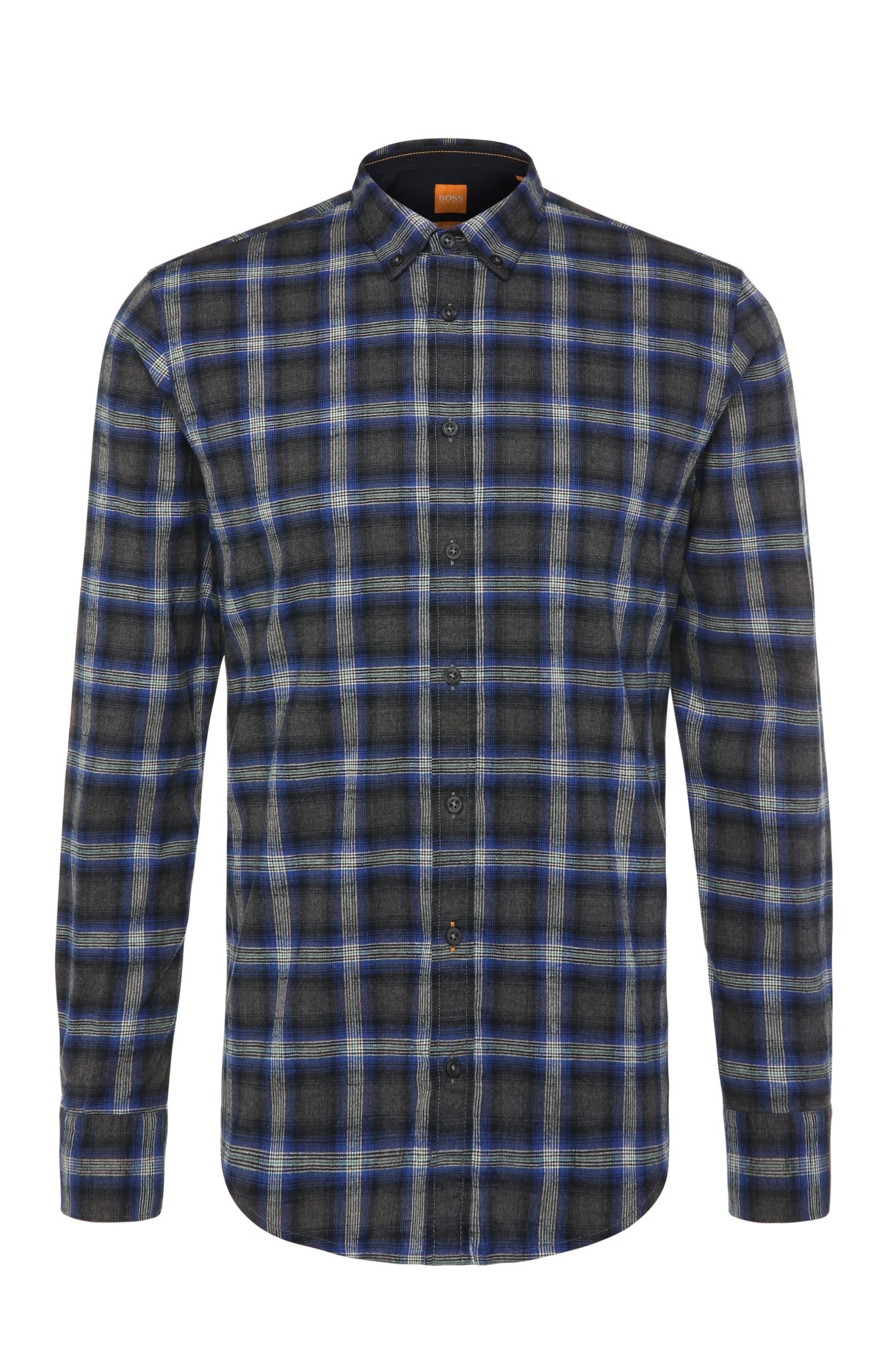 Checked-pattern, slim-fit shirt in cotton: 'EdipoE'