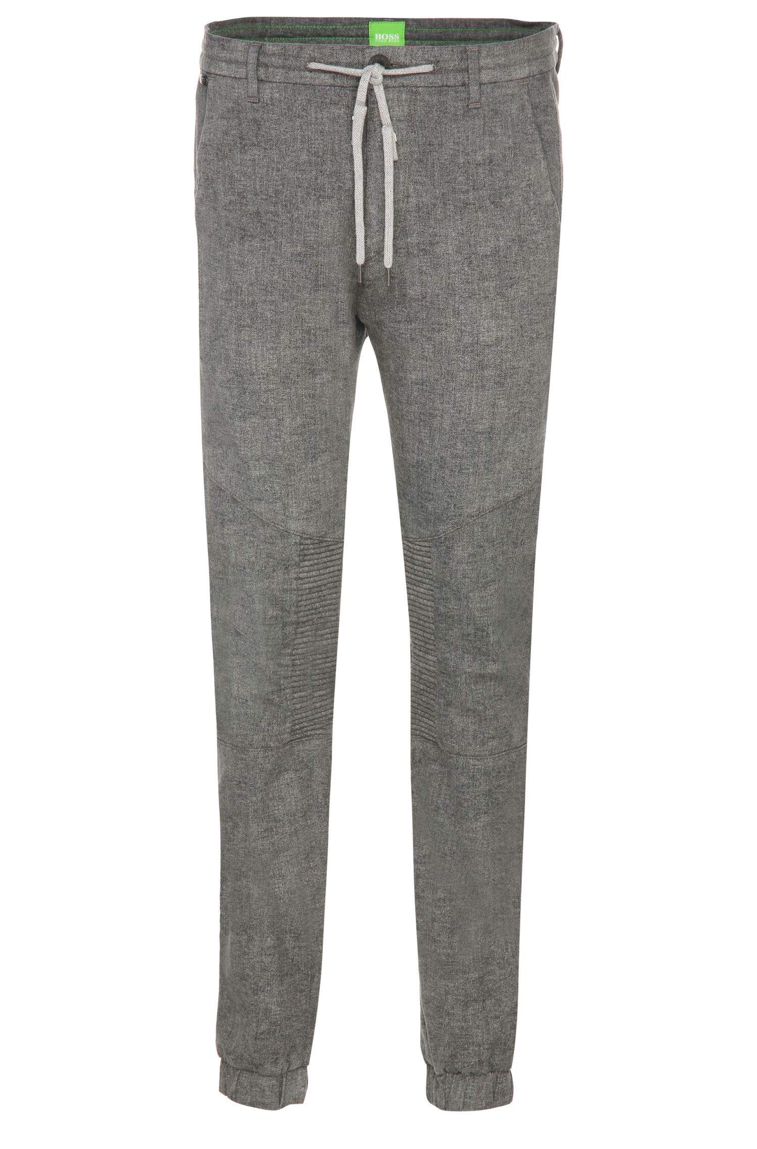 Pantalon chiné Tapered Fit de style jogging en coton extensible : « Darrel3 »