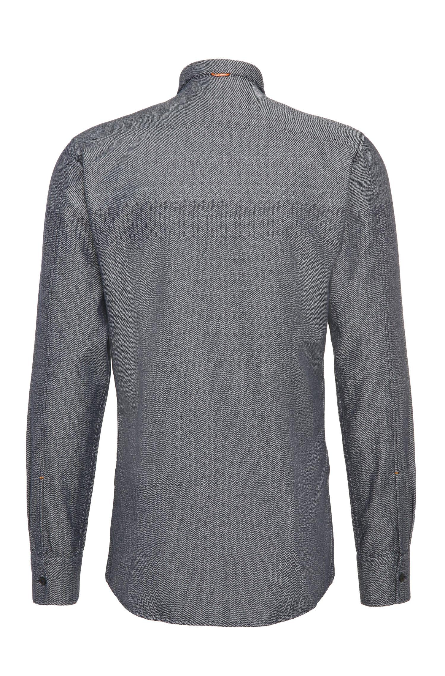 Gestructureerd slim-fit overhemd van zuivere katoen: 'EdipoE'