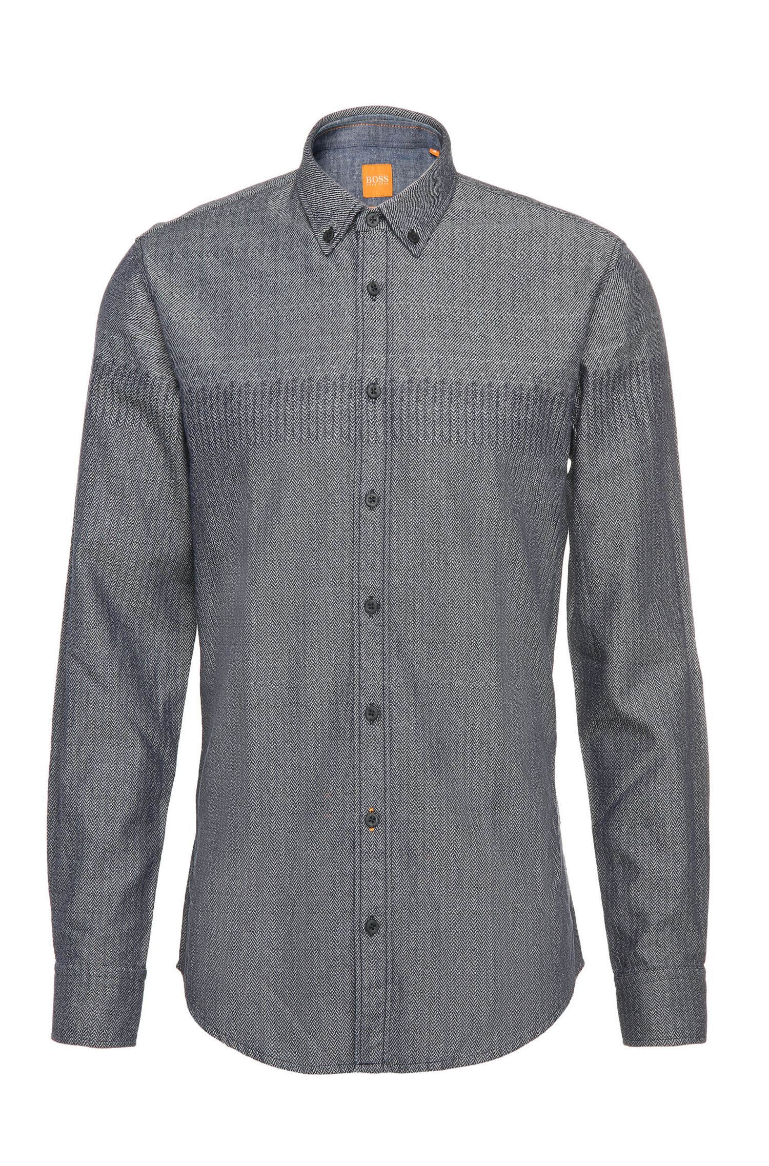 Textured slim-fit shirt in pure cotton: 'EdipoE'