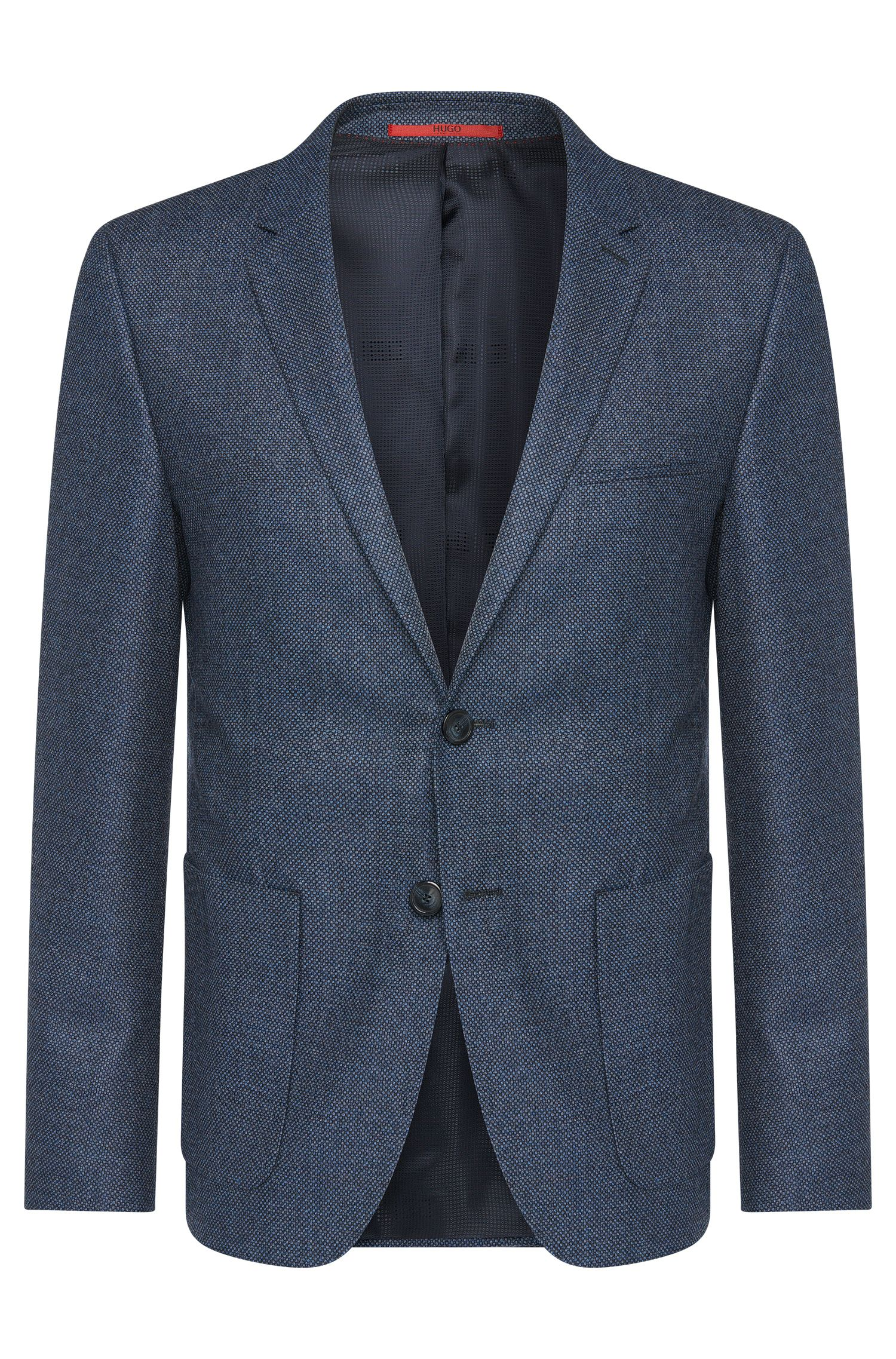Slim-fit jacket in new wool with patch pockets: 'Antanos'