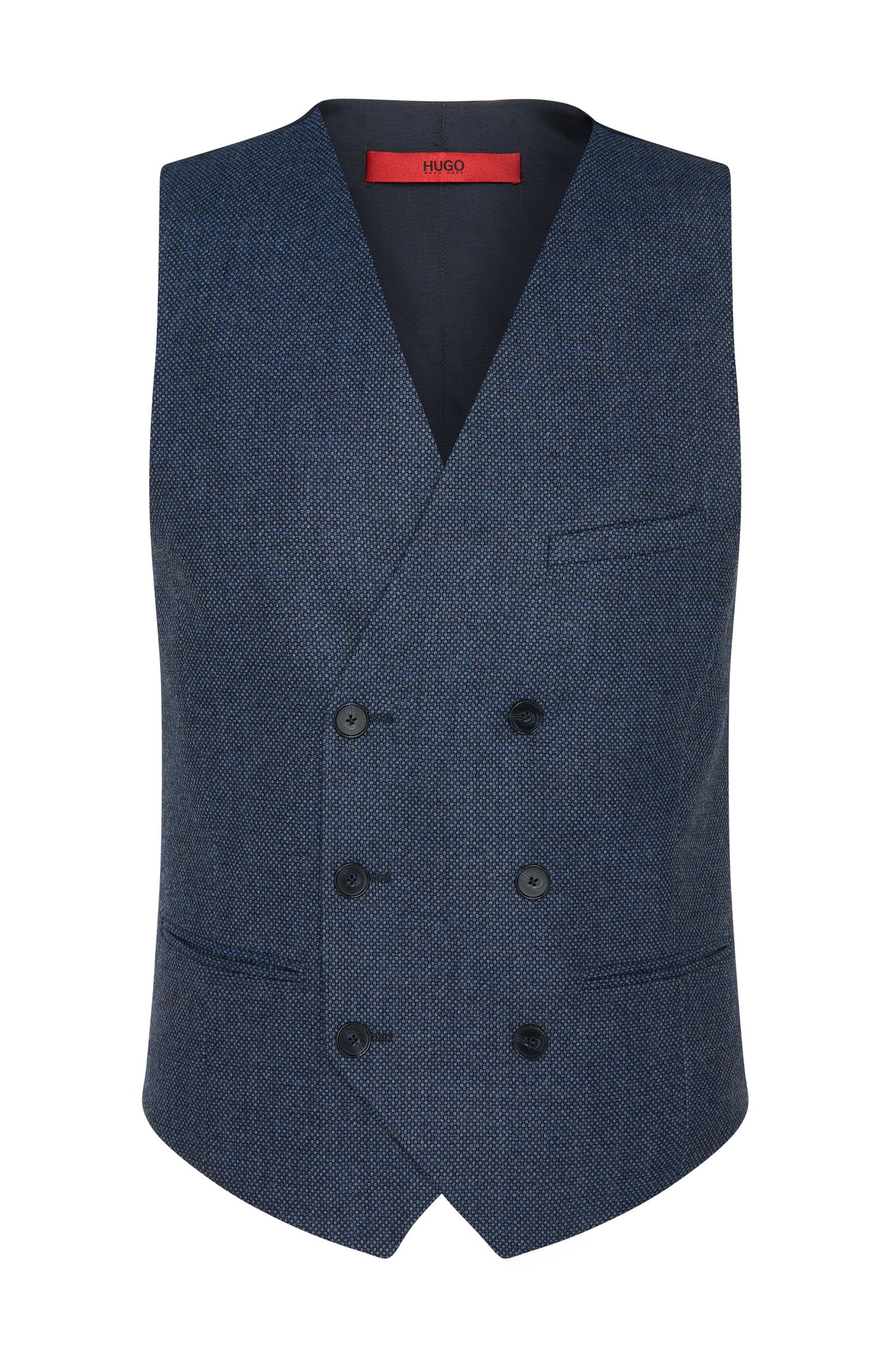 Finely patterned slim-fit waistcoat in new wool: 'Winso'