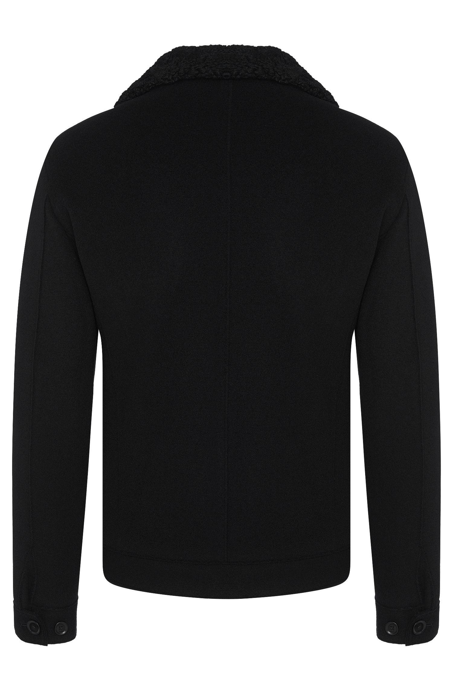 Jacke aus Woll-Mix mit Lammfell-Kragen und Leder-Details: 'Calsen'