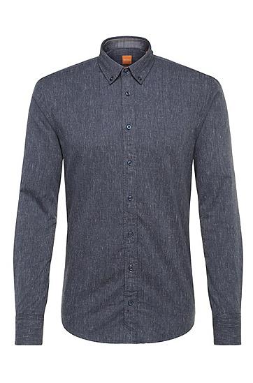Slim-Fit Hemd aus Baumwolle im Denim-Look: ´EdipoE`, Dunkelblau