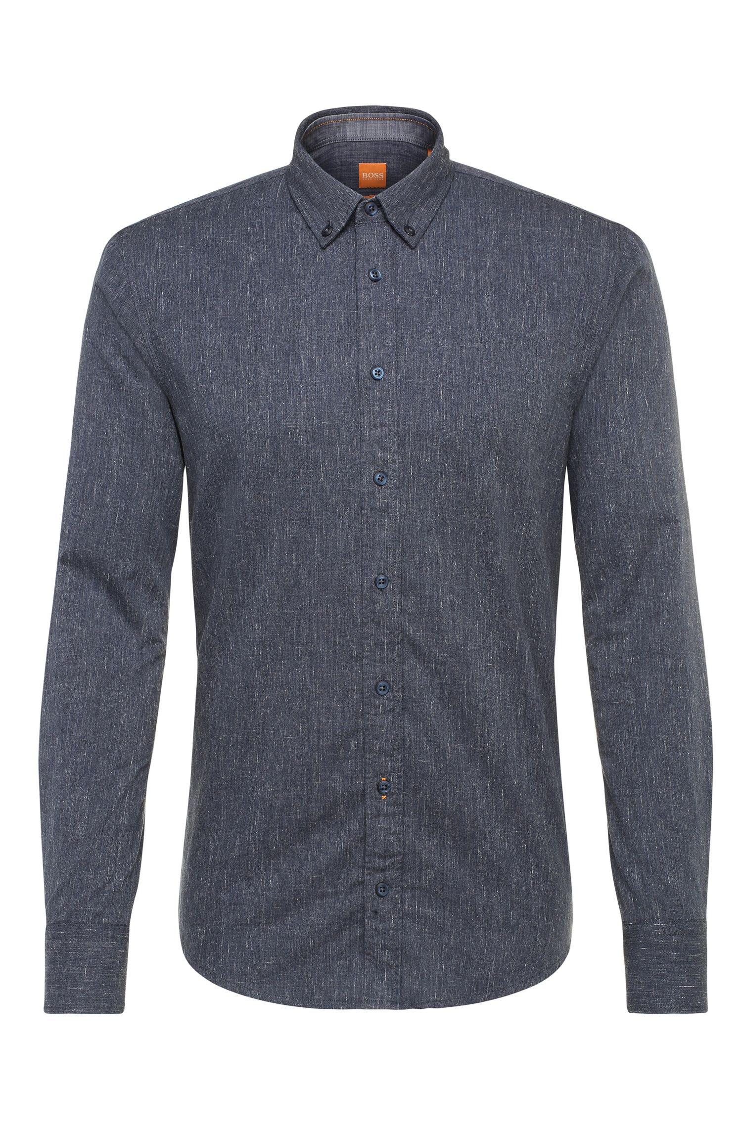 Slim-fit shirt in denim-look cotton: 'EdipoE'