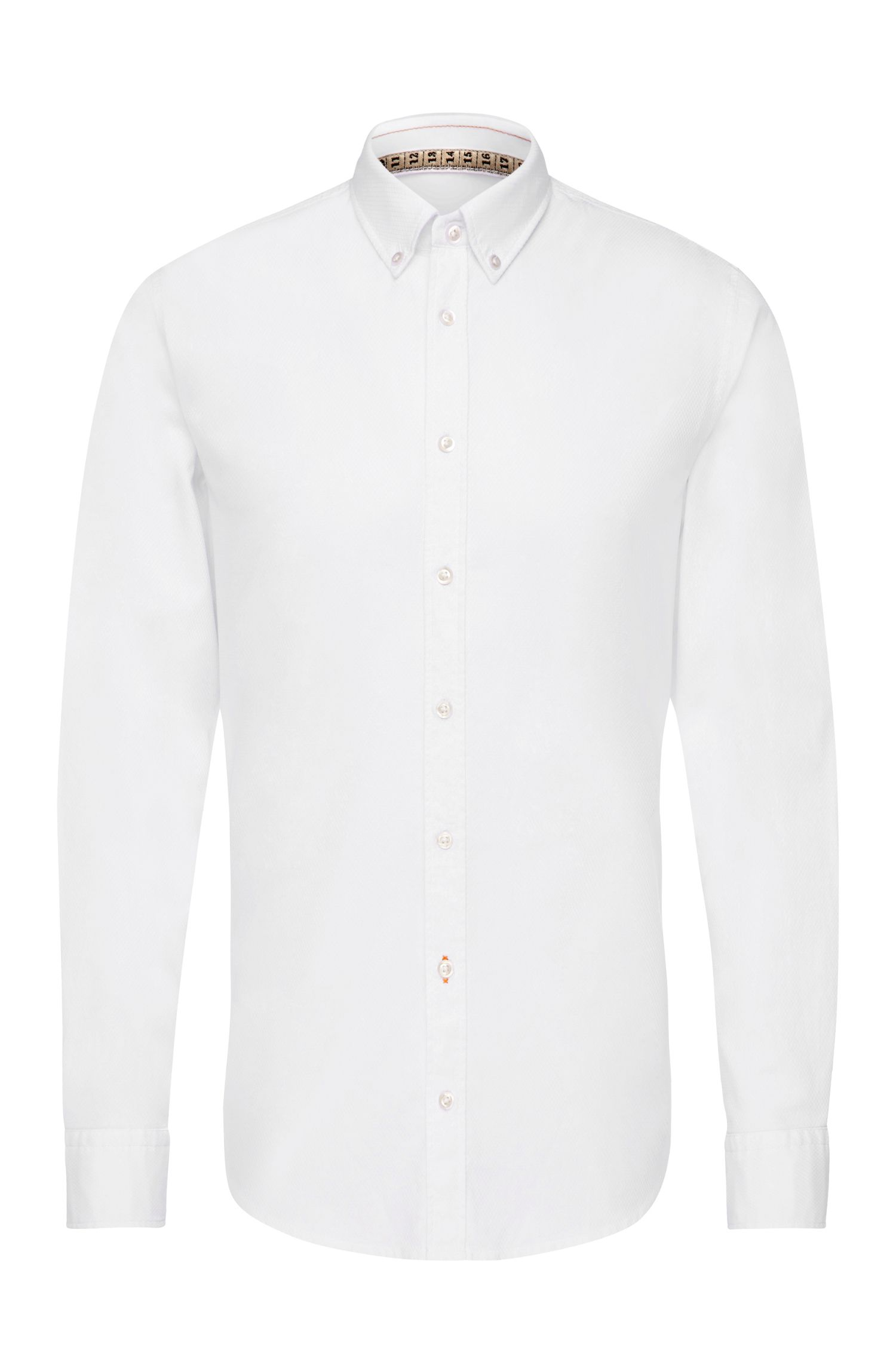 Slim-fit shirt in subtly patterned cotton: 'EdipoE'