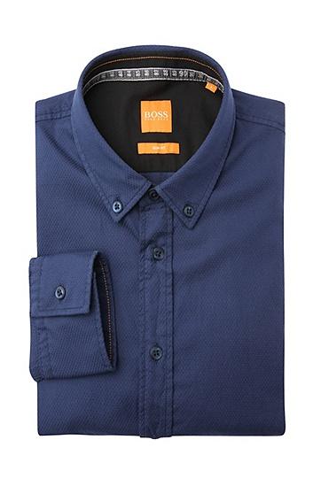 Slim-Fit Hemd aus dezent gemusterter Baumwolle: ´EdipoE`, Dunkelblau