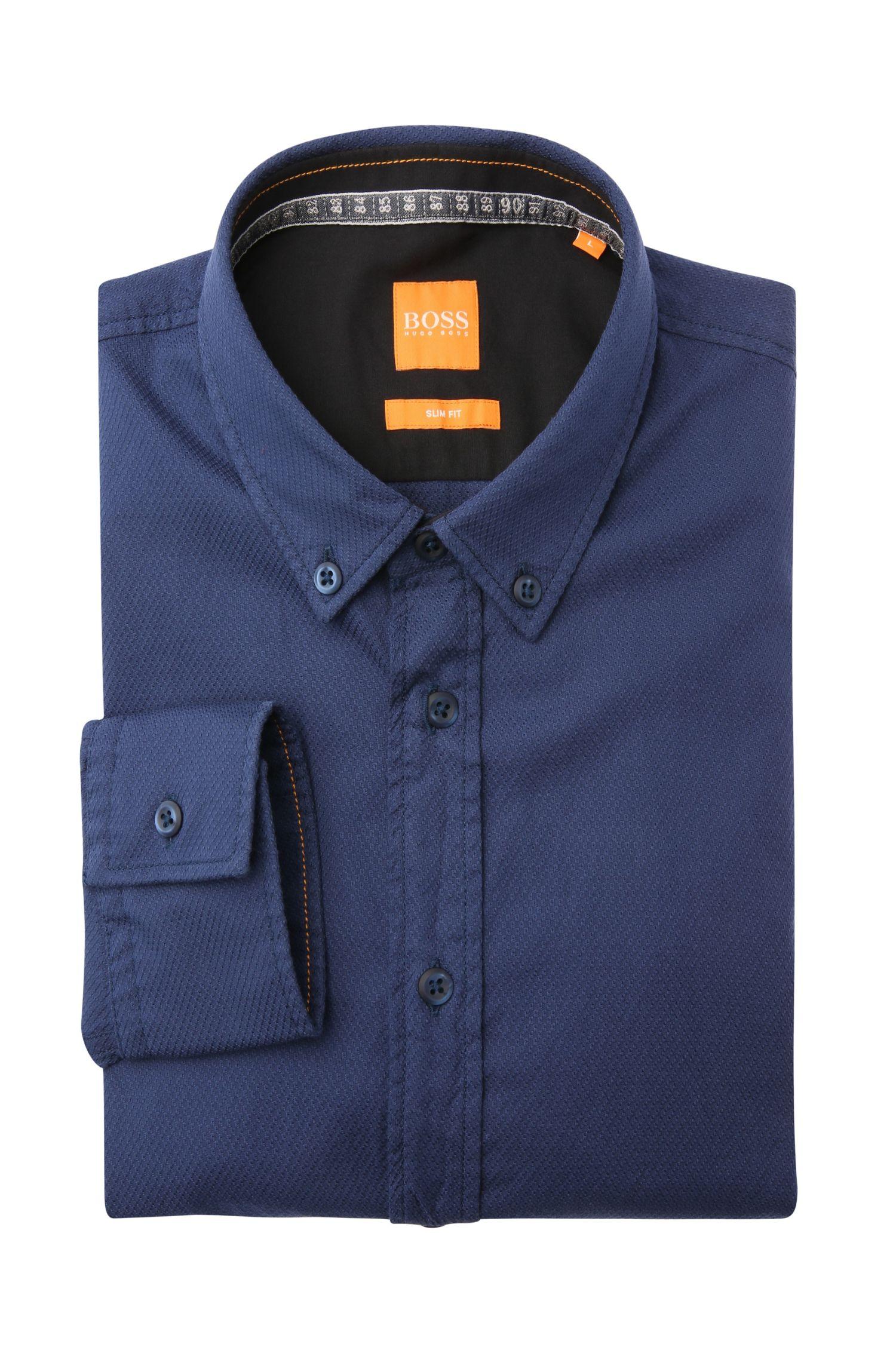 Slim-fit overhemd van katoen met een subtiel dessin: 'EdipoE'