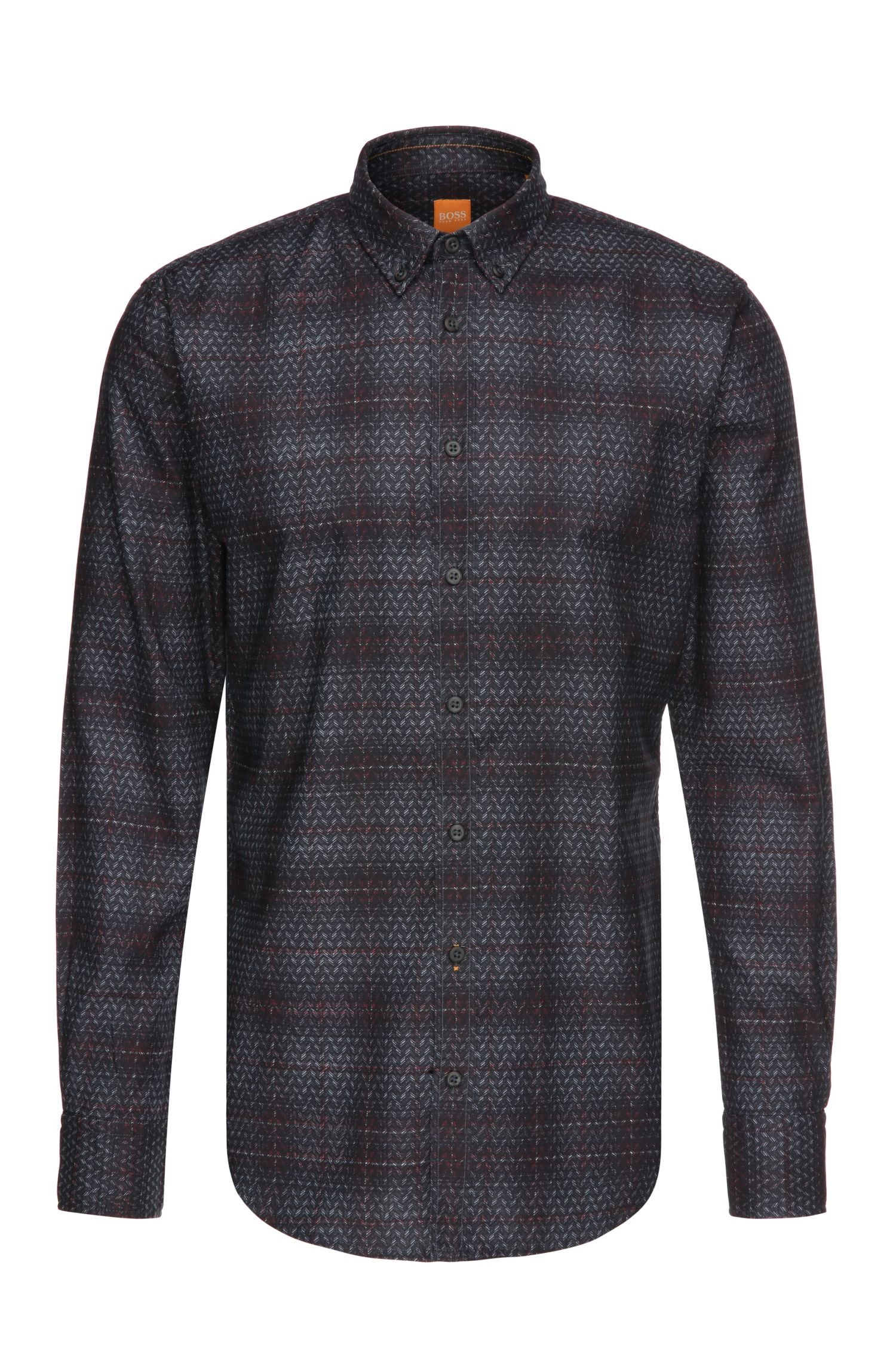 Slim-fit shirt in cotton in a pattern mix: 'EdipoE'