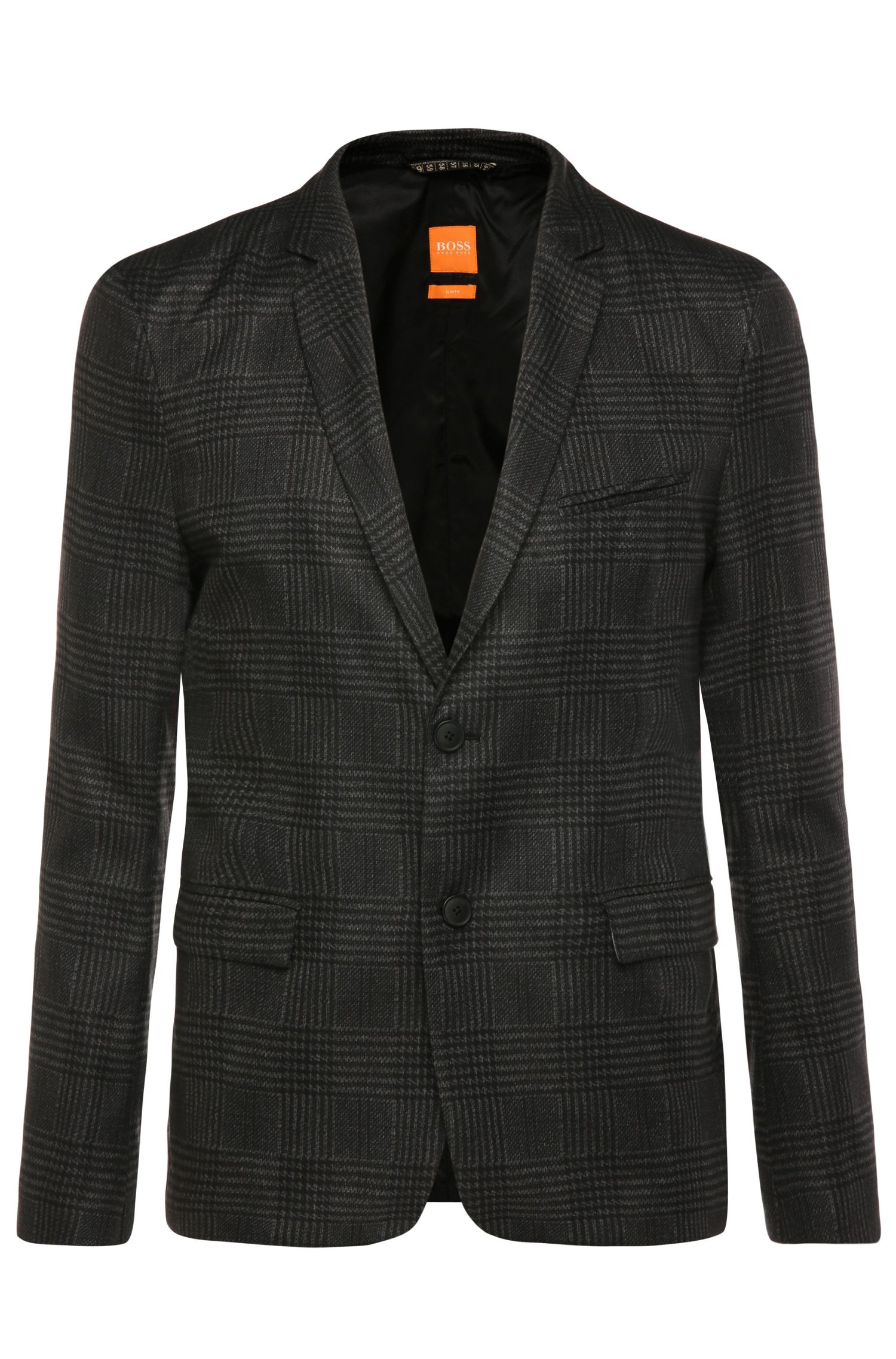 Finely patterned, slim-fit jacket in fabric blend: 'Bilkes'