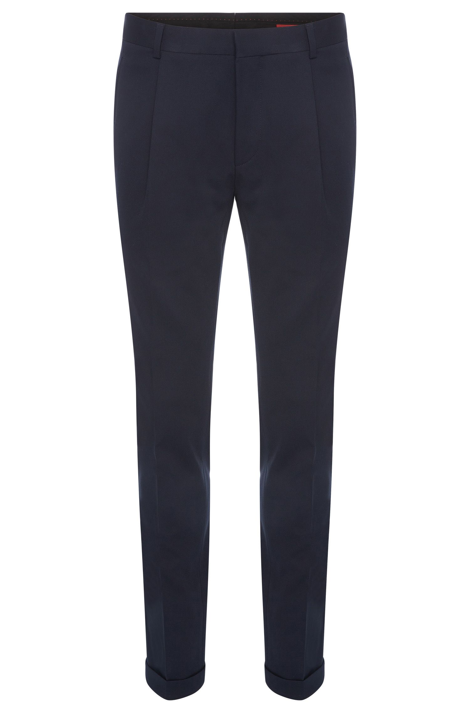 Extra slim-fit trousers in stretch cotton with turn-ups: 'Henru'
