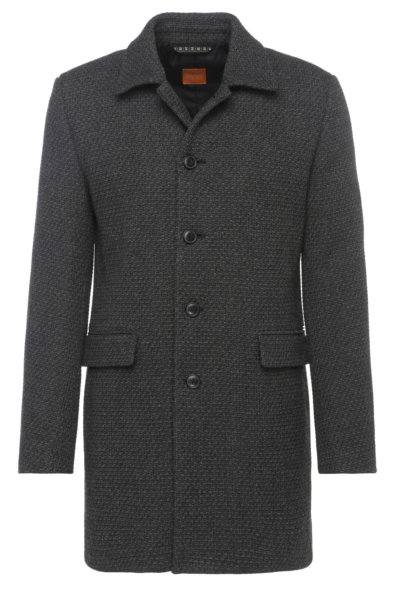 Korte mantel van een materiaalmix in tweedlook: 'Bodhy'