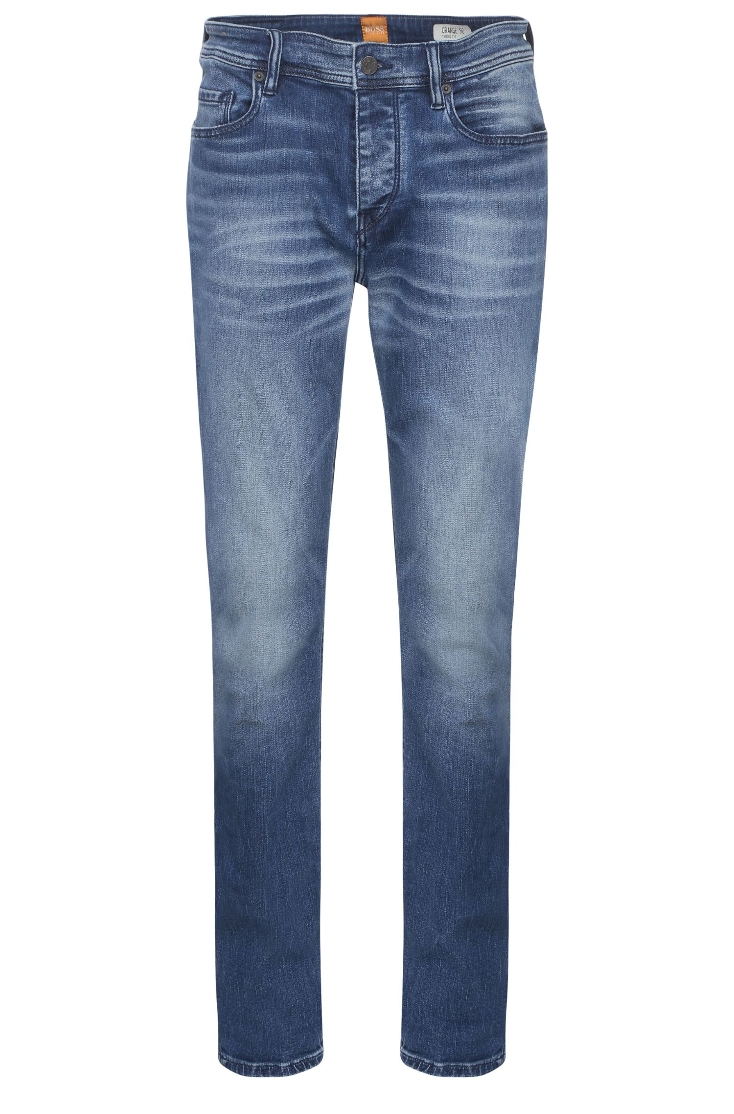Tapered-Fit Jeans aus elastischem Baumwoll-Mix: ´Orange90`