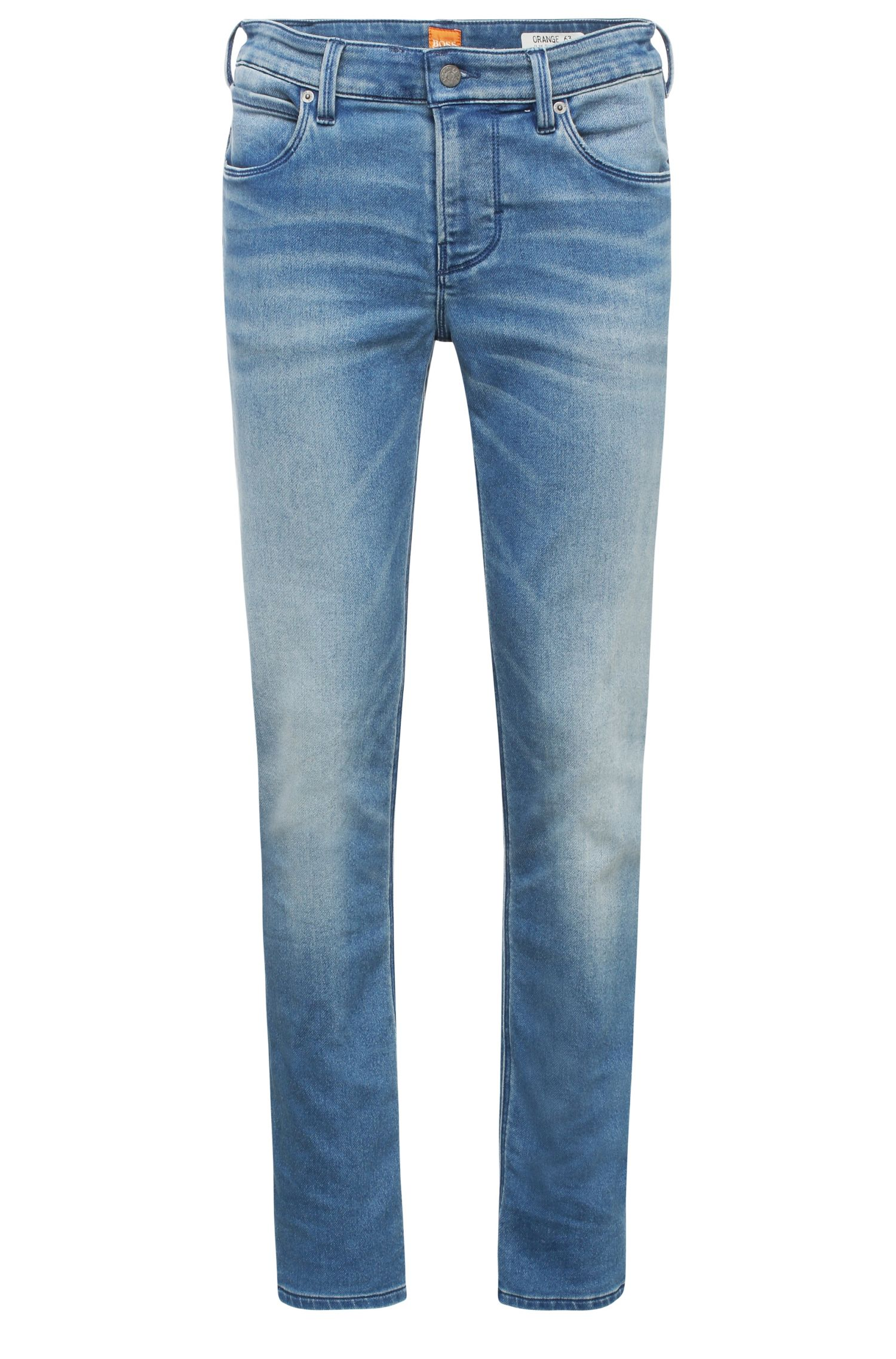 Slim-Fit Jeans aus elastischem Baumwoll-Mix im Used-Look: ´Orange63`