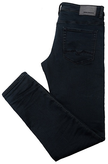 Tapered-Fit Jeans aus elastischem Baumwoll-Mix: ´Orange90`, Dunkelblau