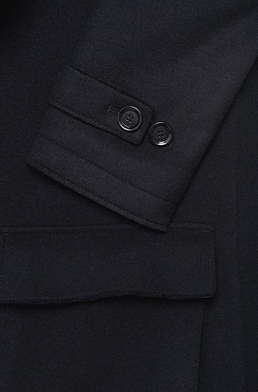 Jacke aus Woll-Mix mit Riegel in Leder-Optik: 'Callun', Dunkelblau
