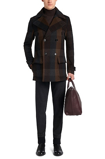 Checked jacket in new wool: 'Calon', Brown