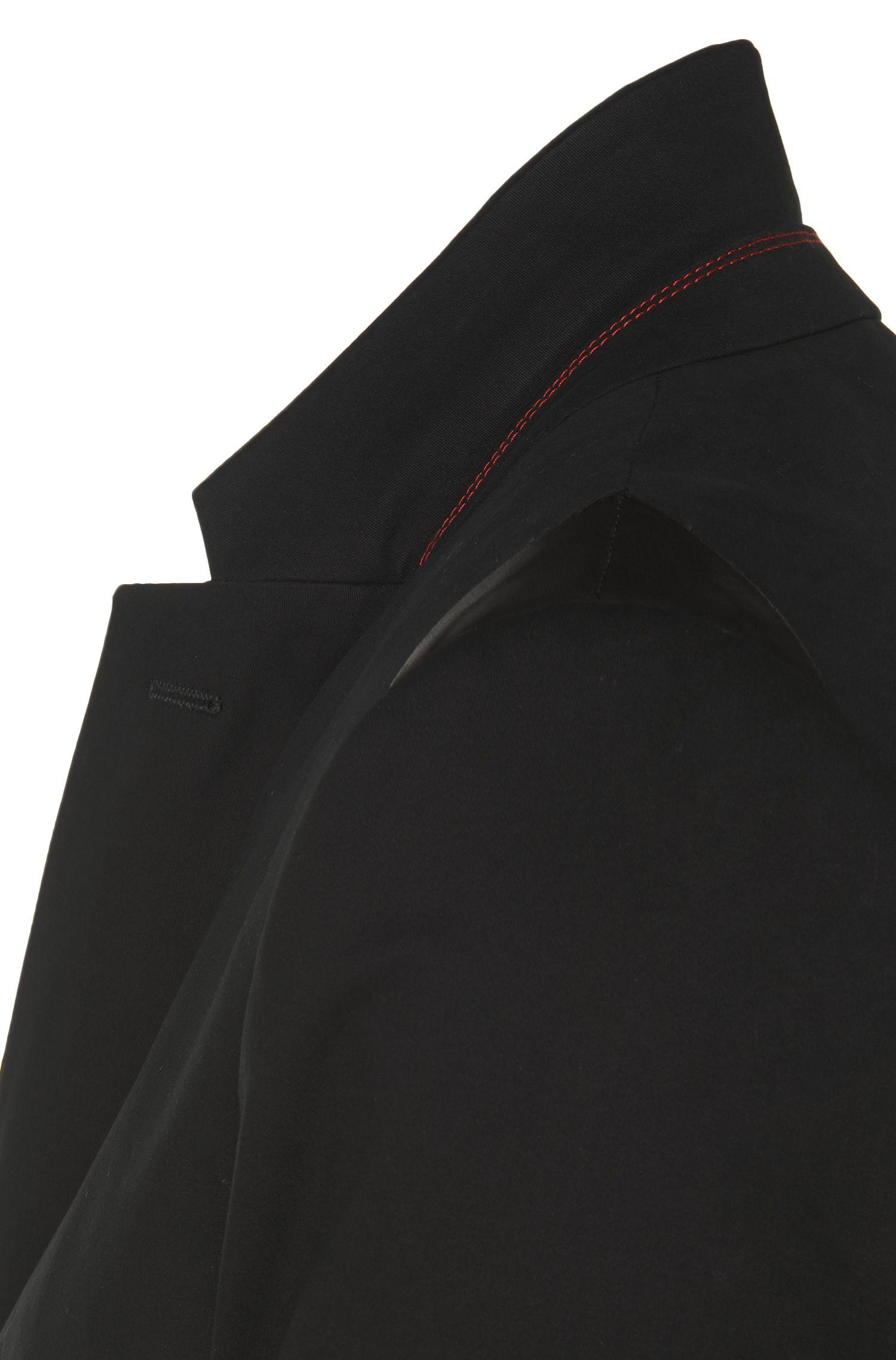 Veste de costume Regular Fit en coton stretch agrémentée de détails à effet cuir: «Ander»