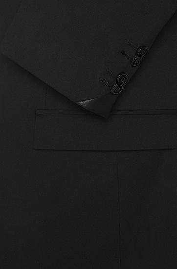 Regular-Fit Sakko aus Stretch-Baumwolle mit Details in Leder-Optik: 'Ander', Schwarz