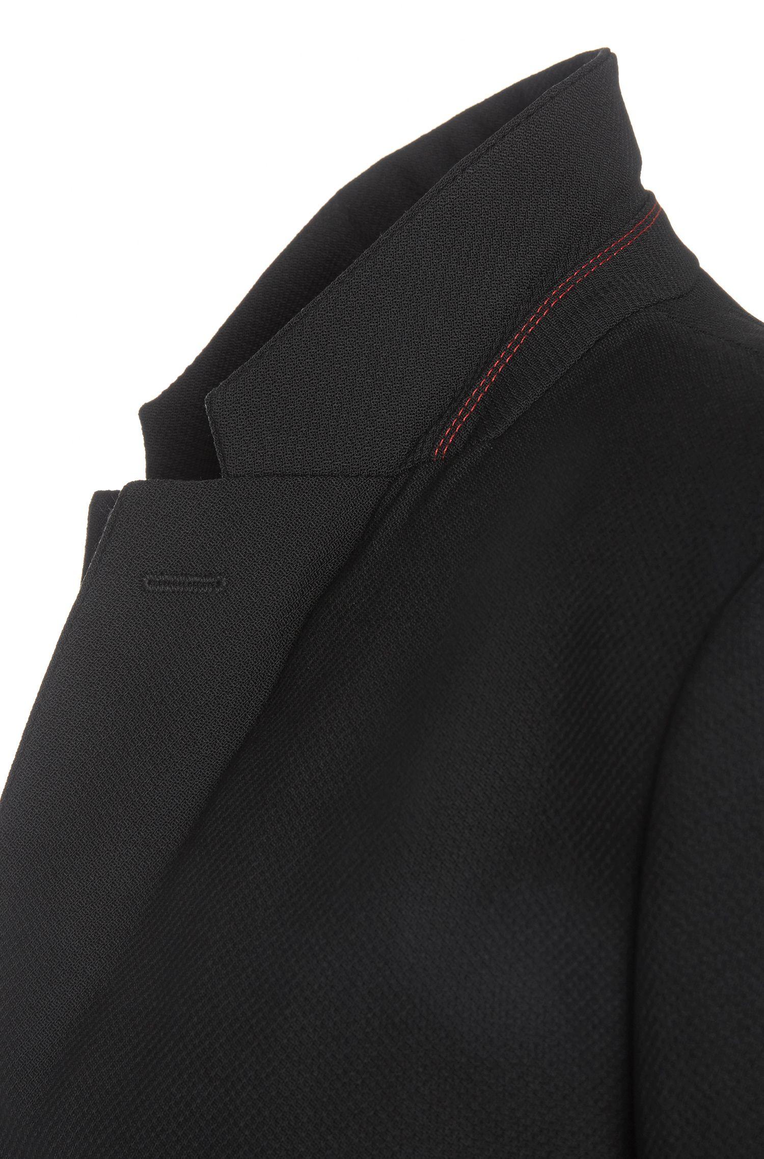 Veste de costume Regular Fit en laine vierge mélangée avec des détails à effet cuir: «Ander»