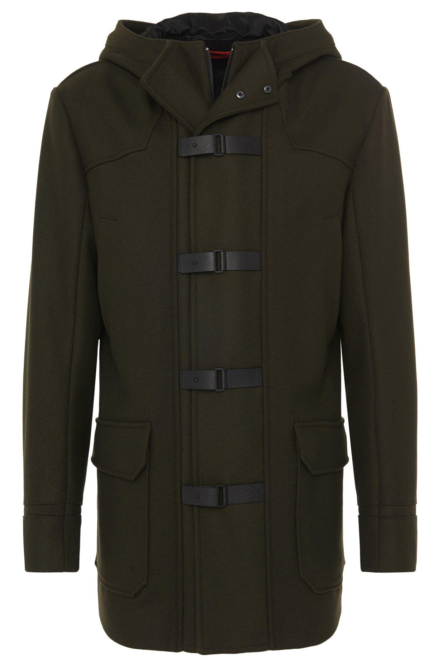 Cappotto in misto lana vergine con dettagli in finta pelle: 'Mektor'