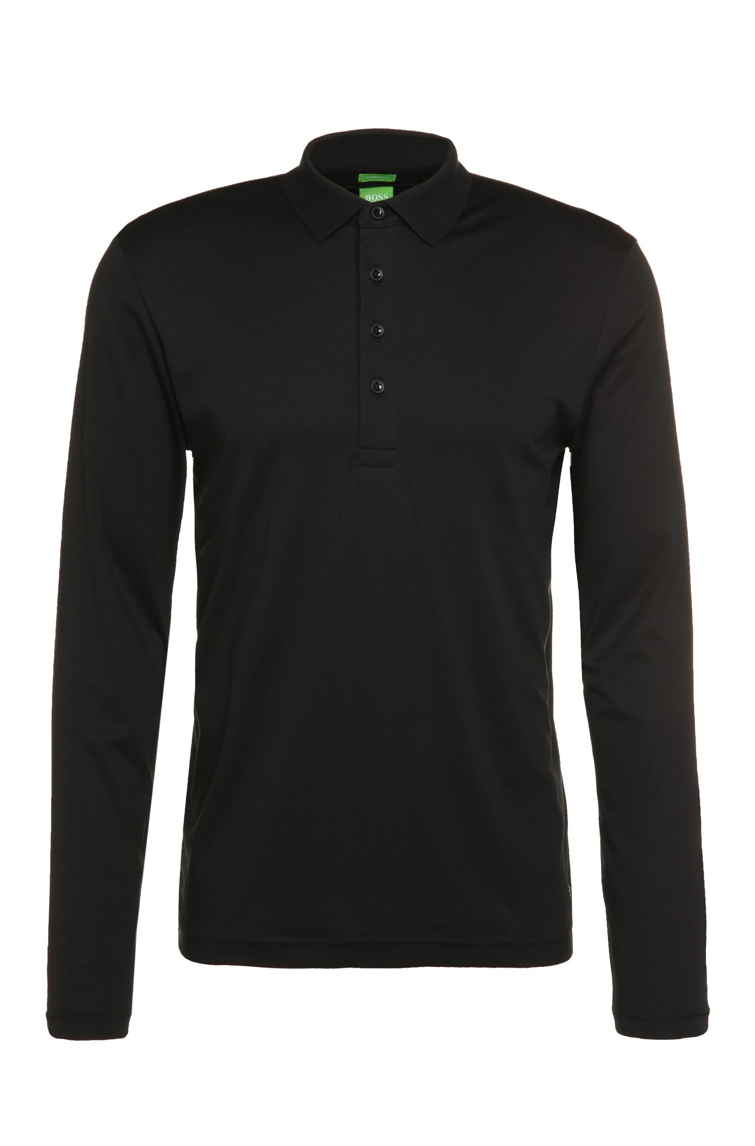 Regular-Fit Longsleeve-Polo aus reiner Baumwolle: ´C-Acciano 1`