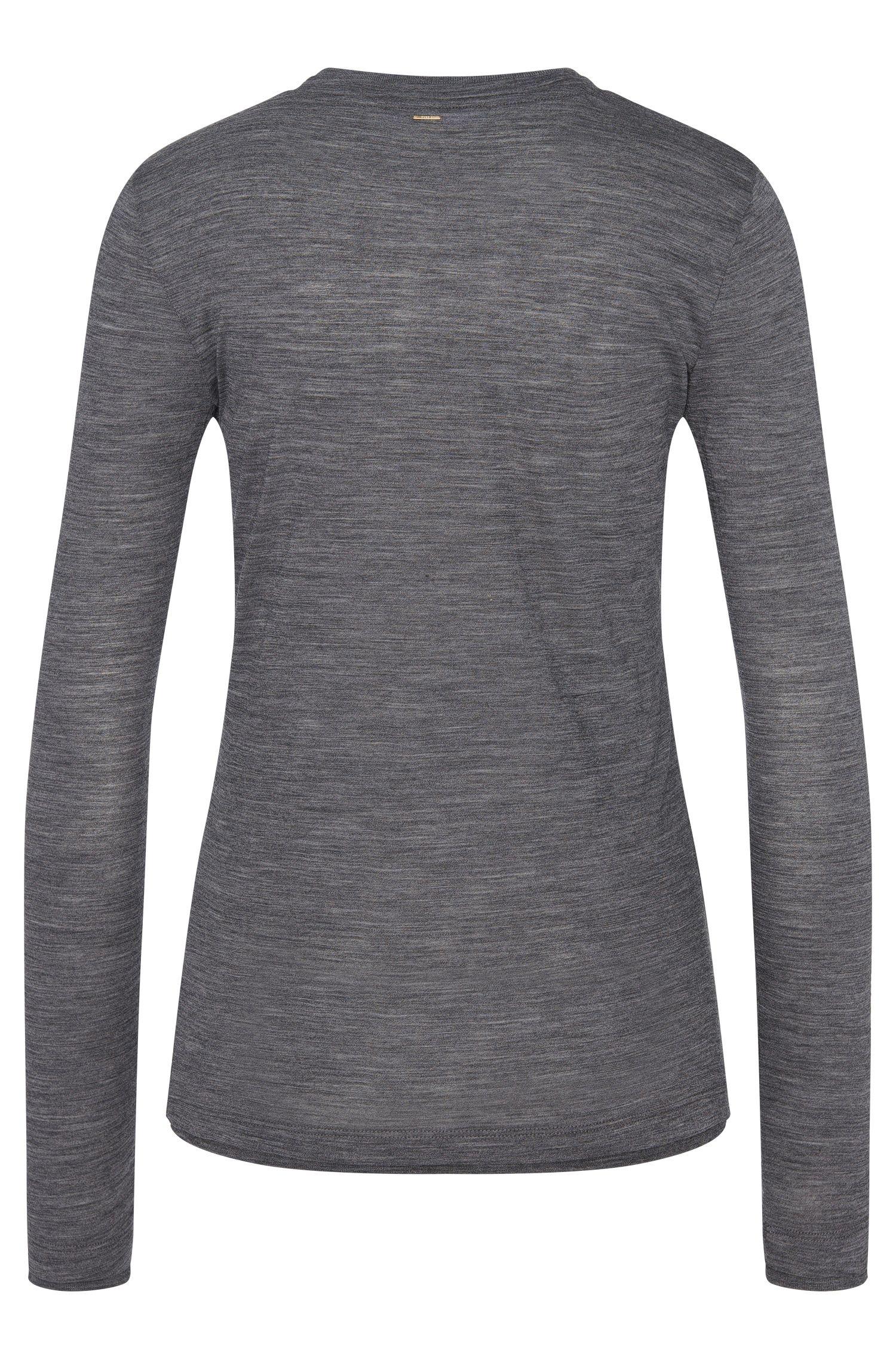 T-shirt à manches longues en laine chinée: «Edune»