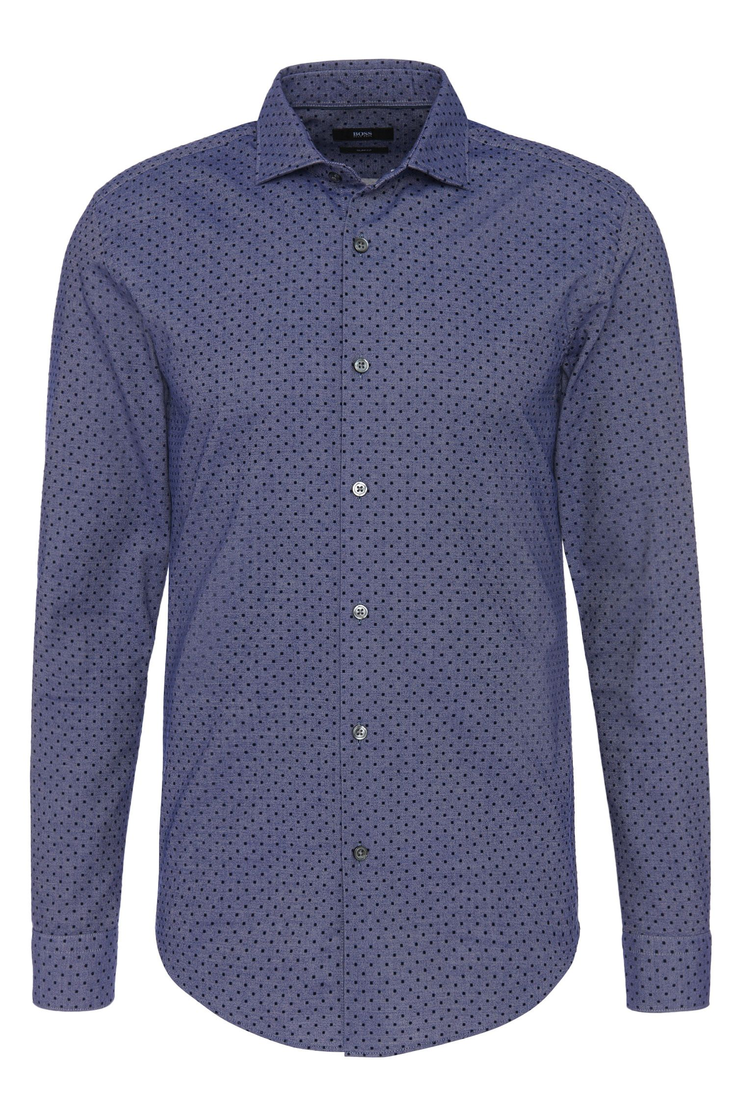 Polka dot pattern slim-fit shirt in cotton blend: 'Ridley_F'