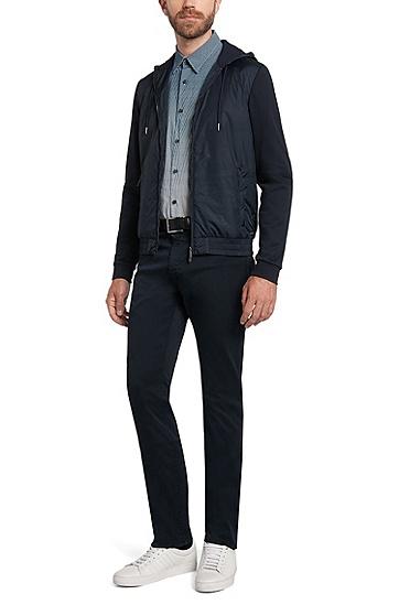 Gemustertes Slim-Fit Hemd aus Baumwolle: 'Rodney_FO', Dunkelblau