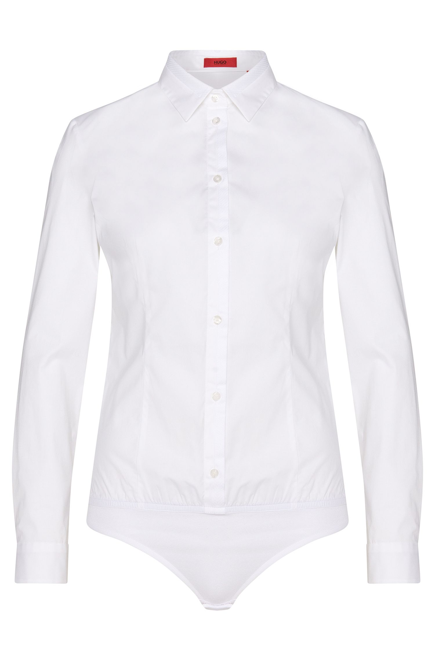 Stringbody blouse in stretch cotton with elastic hem: 'Elyn'