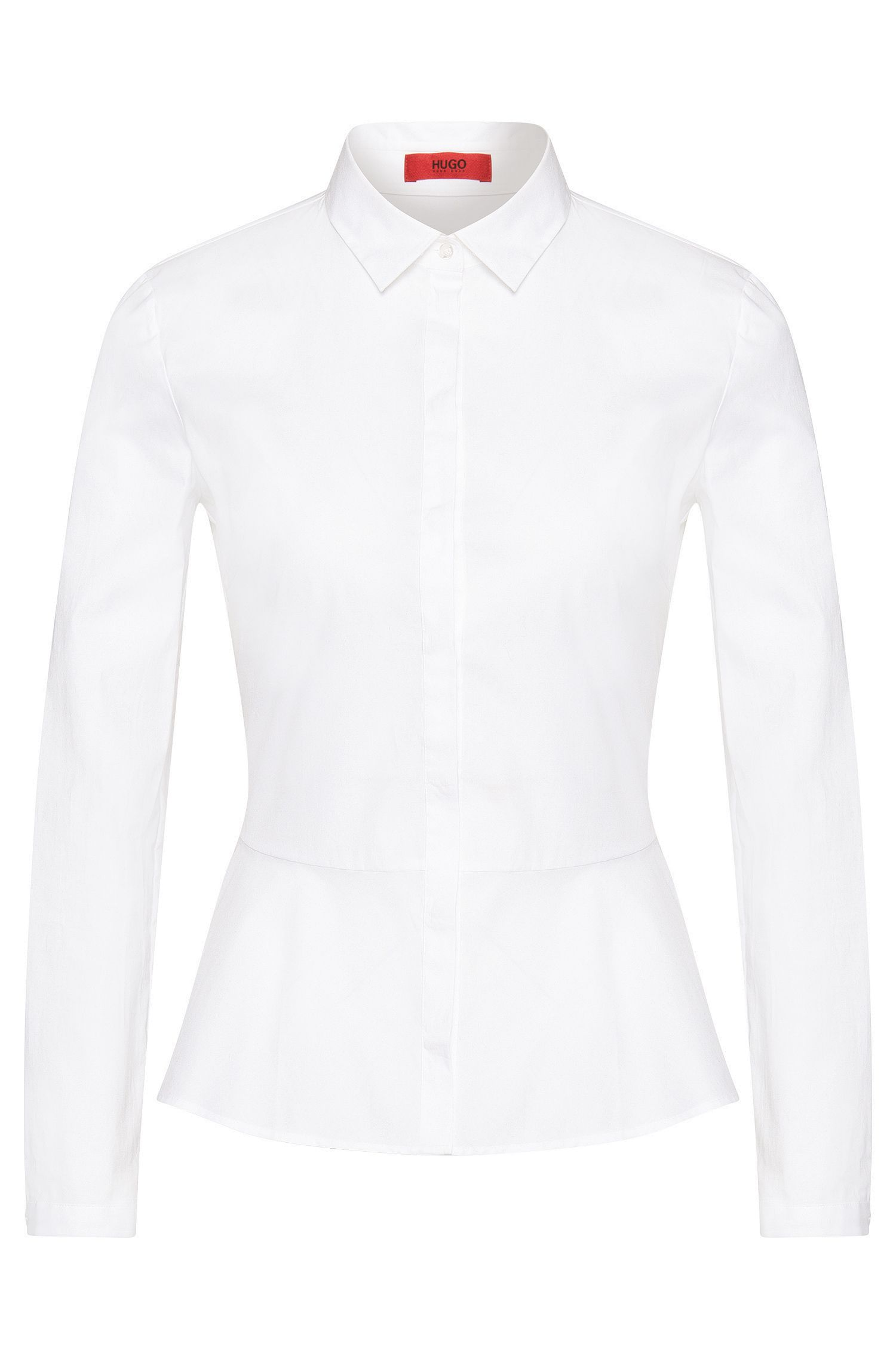 Shirt-style blouse in stretch cotton with peplum: 'Esriel'