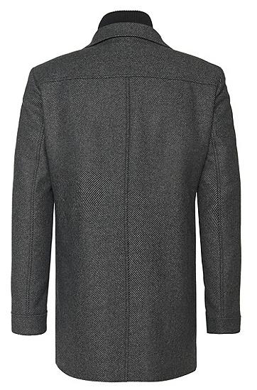 Gestreifte Jacke aus Material-Mix mit fixierter Reißverschlussblende: 'Barelto':, Dunkelgrau