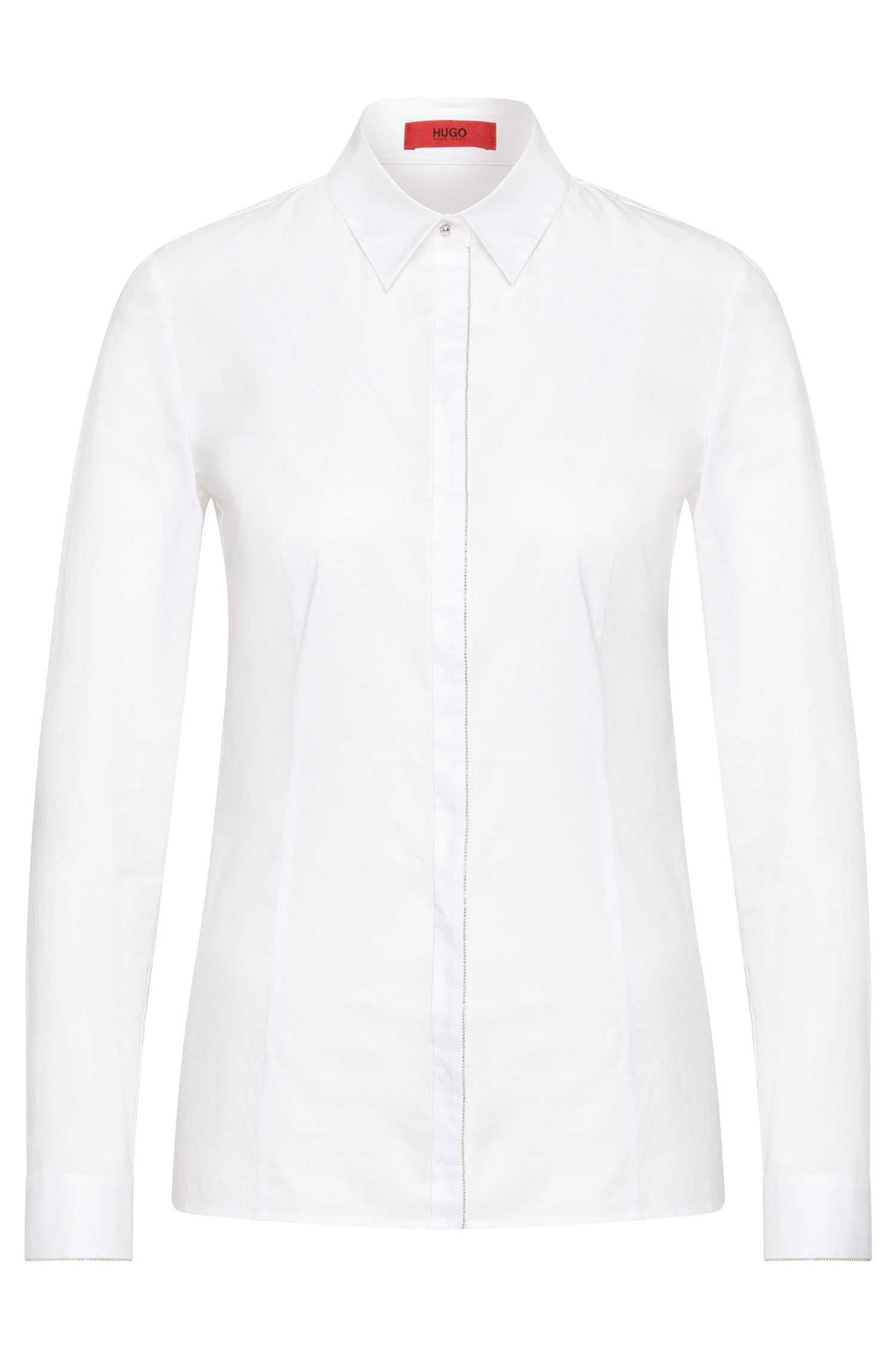 Shirt-style blouse in stretch cotton with a concealed button placket: 'Etri'