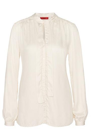 Bluse aus Modal mit Schluppenkragen: 'Eclovi', Natur