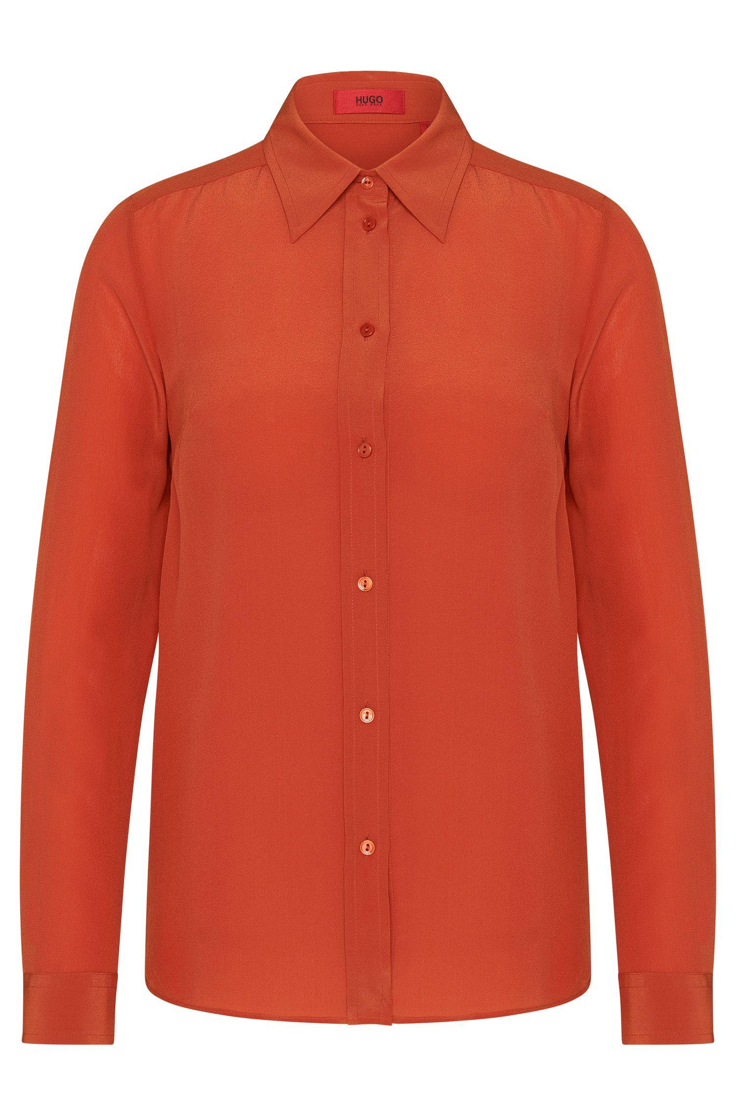 Plain shirt-style blouse in silk: 'Ekla'