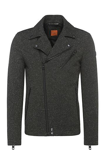 Outdoor-Jacke im Biker-Stil aus Material-Mix mit Wolle und Seide: ´Omorris`, Grün