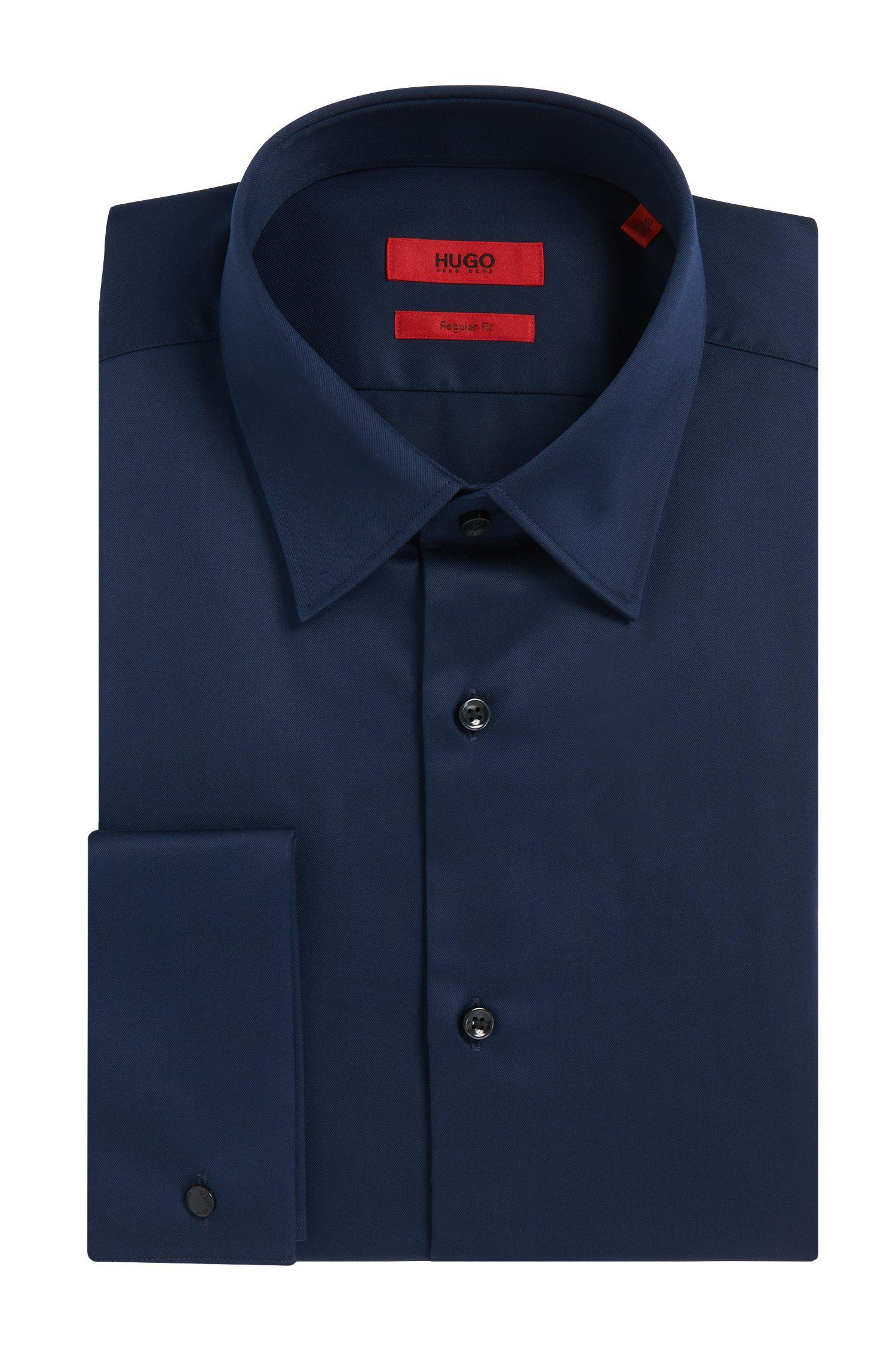 Regular-fit overhemd van katoen met omgeslagen manchetten: 'C-George'