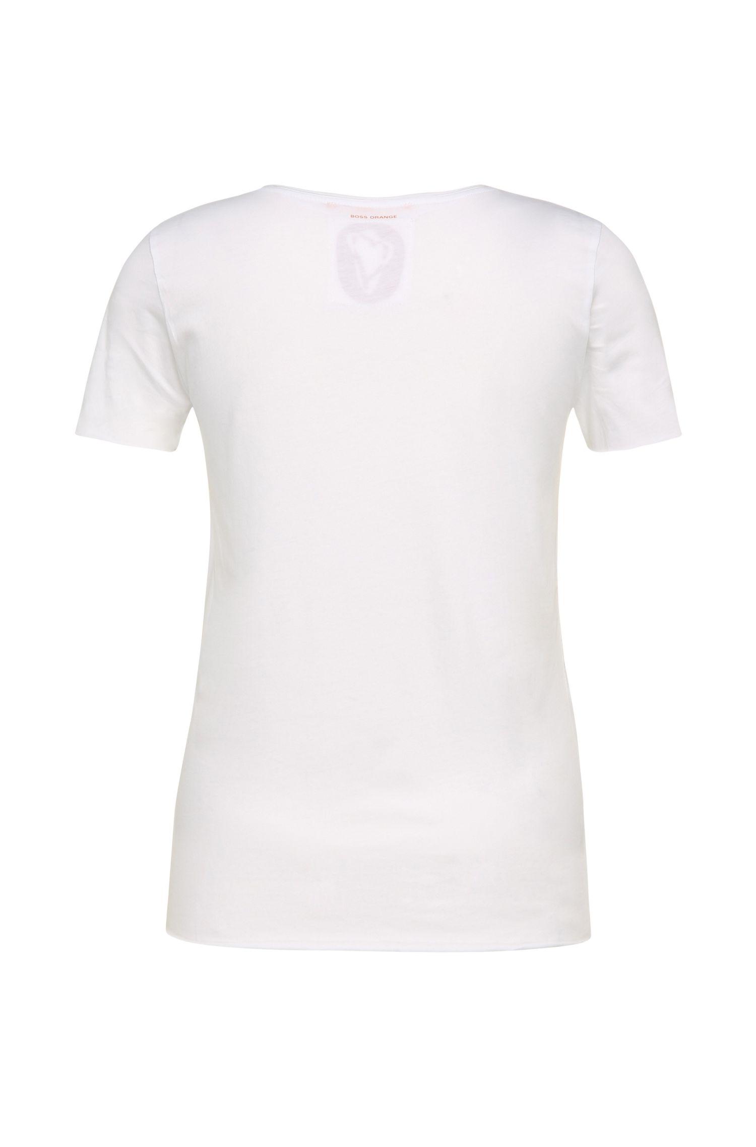 T-shirt Slim Fit en coton, avec imprimé sur le devant: «Tishirt»