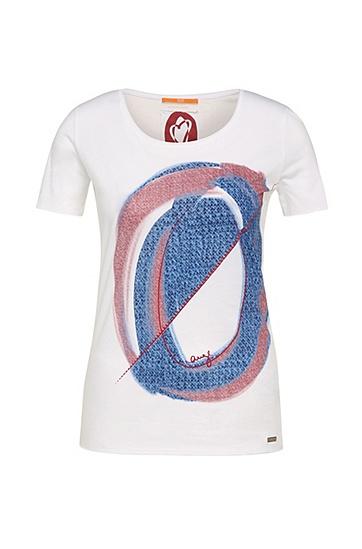 Slim-Fit Shirt aus Baumwolle mit Frontprint: ´Tishirt`, Weiß