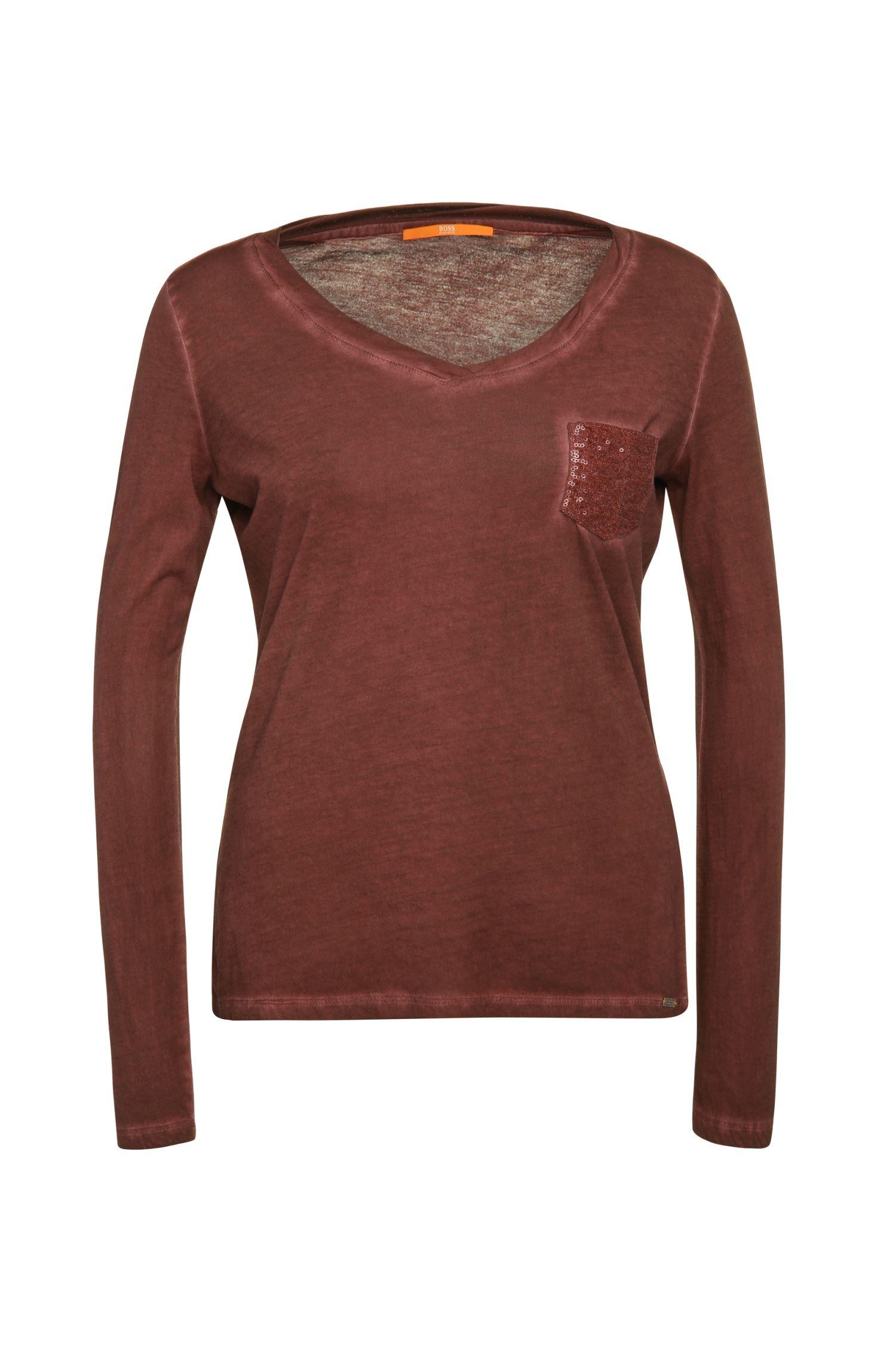 T-shirt à manches longues Slim Fit en coton à la teinture usée: «Voksani»