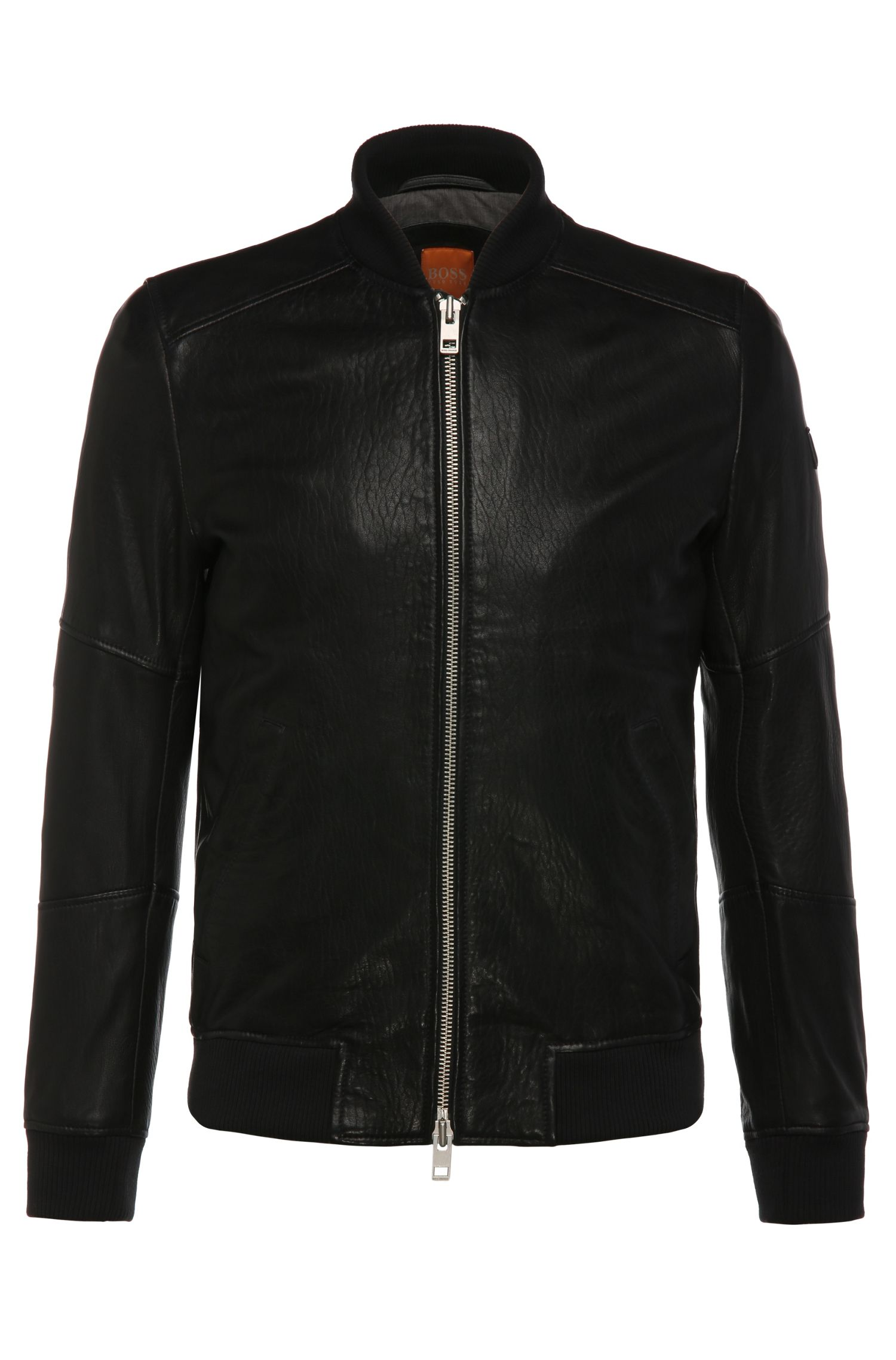 Slim-fit bomber jacket in leather: 'Jaggo'
