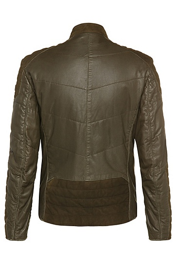Regular-Fit Lederjacke mit Biker-Stitchings und Perforierung: ´Jendricks1`, Grün