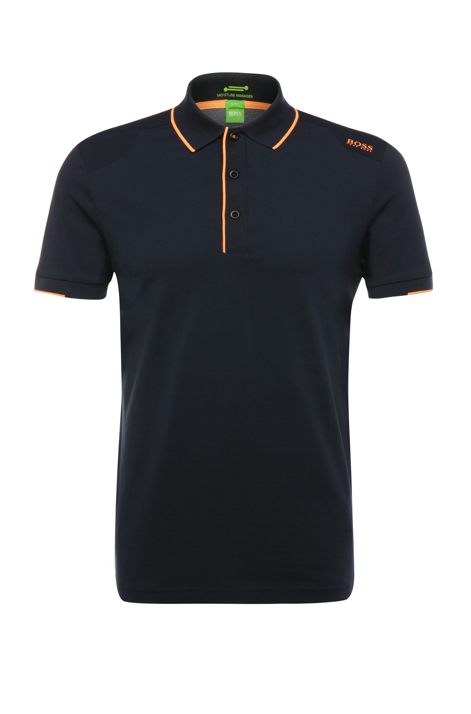 Slim-fit polo shirt in a stretchy cotton blend: 'Paule 1'