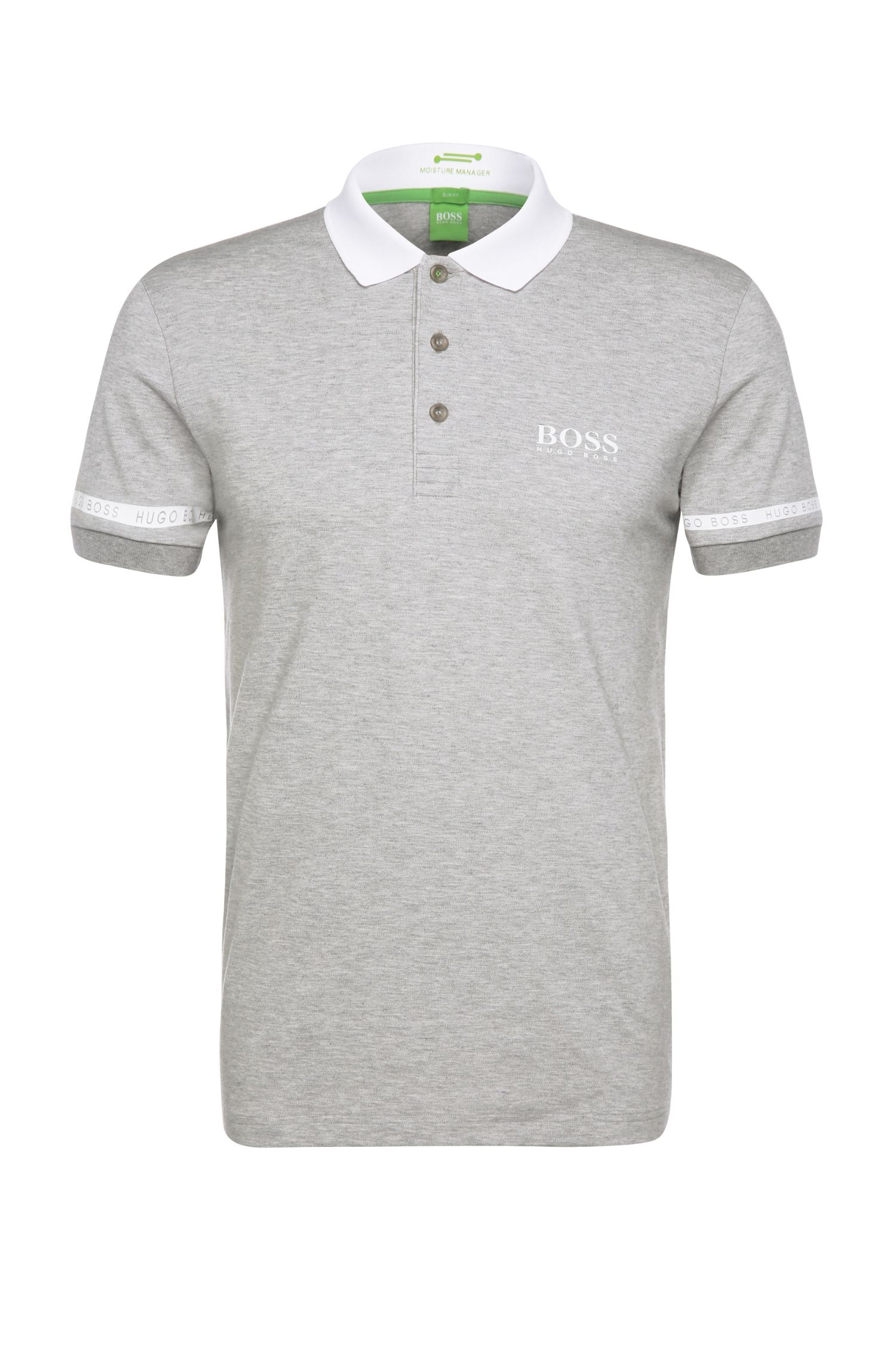 Slim-fit polo shirt in a functional cotton blend with elastane: 'Paule Pro'