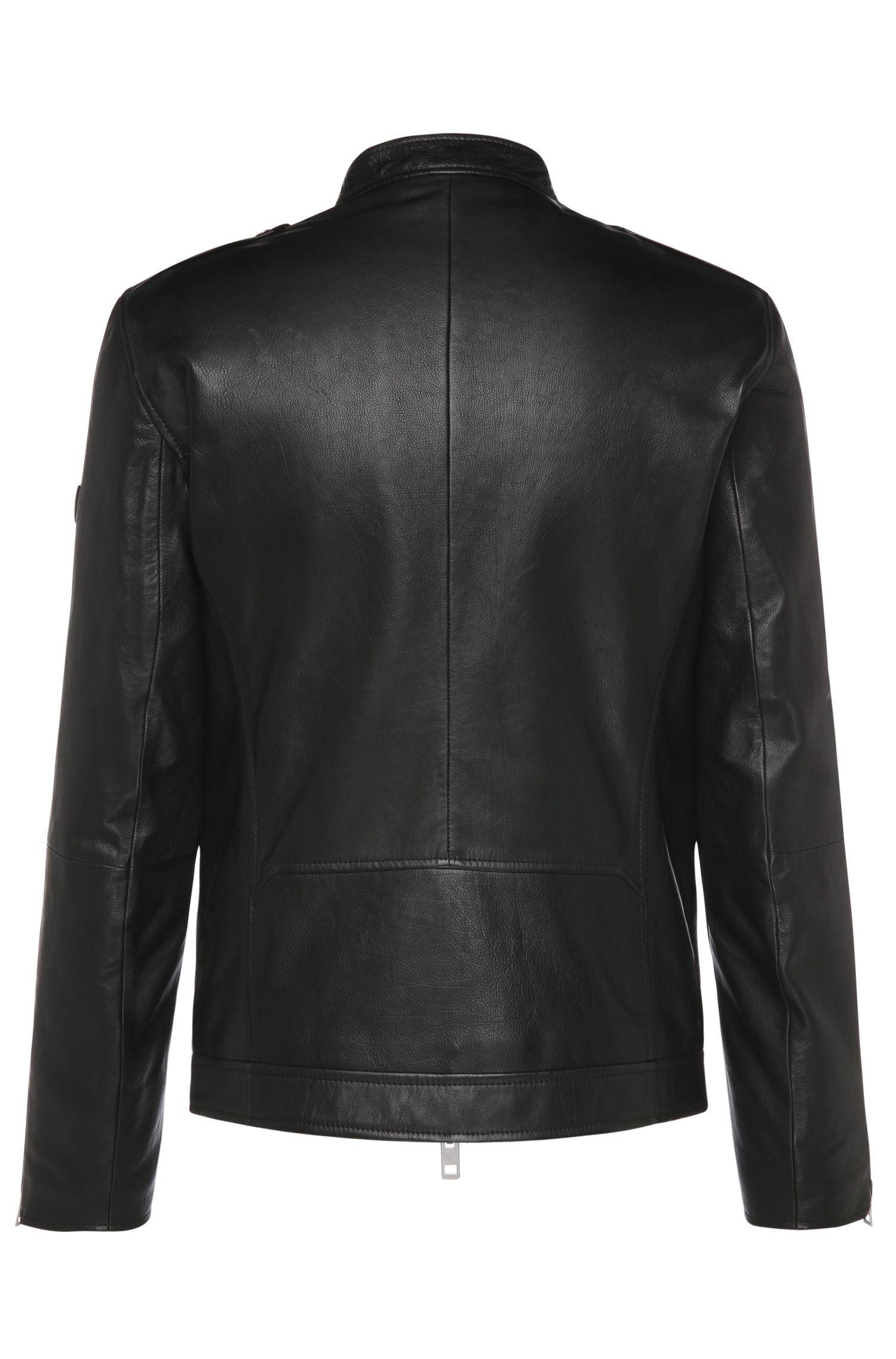 Blouson en cuir Slim Fit de style motard à empiècements contrastants: «Jam»
