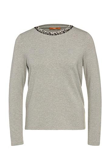 Verziertes Regular-Fit Sweatshirt aus elastischem Viskose-Mix mit Baumwolle: ´Tacollar`, Grau